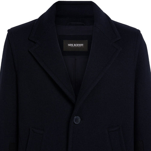 Neil Barrett - Modernist Cuff Doubleface Overcoat in Navy