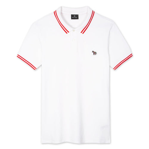 PS Paul Smith - Reg Fit Tipped Zebra Polo Shirt in White - Nigel Clare