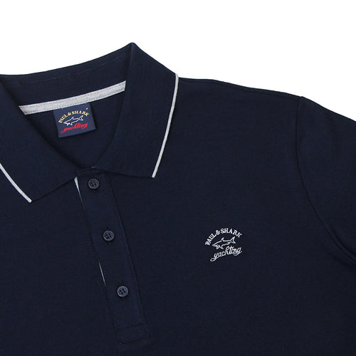 Paul & Shark - Tipped Collar Polo Shirt in Navy & Grey - Nigel Clare