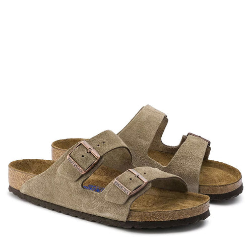 Birkenstock - Arizona Suede Leather Sandals in Taupe - Nigel Clare
