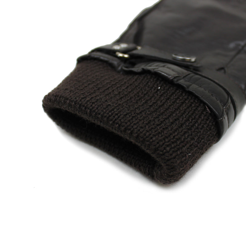 PS Paul Smith - Goatskin Ribbed Cuff Gloves in Dark Brown - Nigel Clare