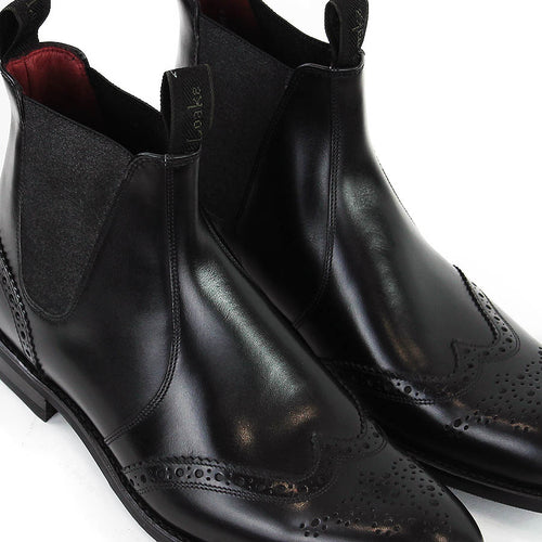 Loake - Hoskins Brogue Chelsea Boots in Black Leather