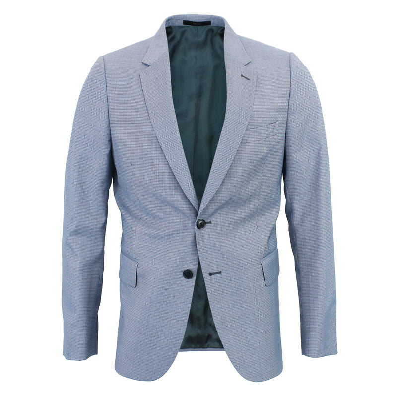 Paul Smith - Slim Fit Houndstooth Summer Blazer in Blue - Nigel Clare