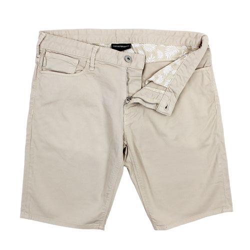 Emporio Armani - Cotton Twill Shorts in Beige - Nigel Clare