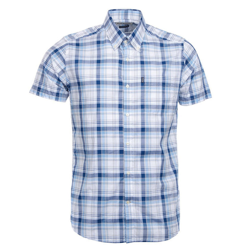 Barbour - Tailored Fit Madras Check S/S Shirt in Blue - Nigel Clare