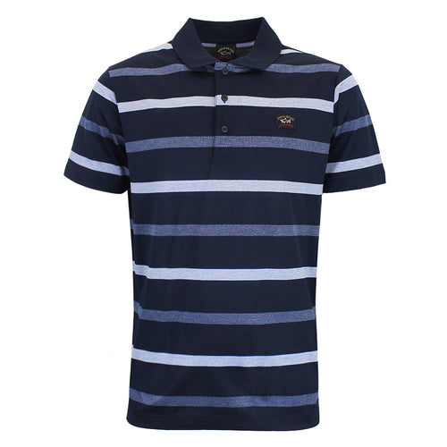 Paul & Shark - Striped Polo Shirt in Navy Blue - Nigel Clare