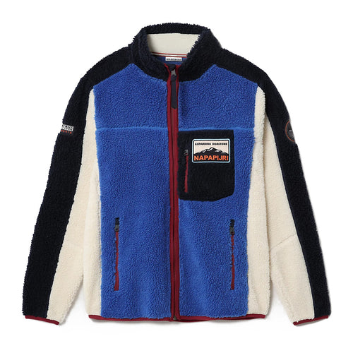 Napapijri - Yupik Full Zip Fleece in Blue/Red/Cream - Nigel Clare
