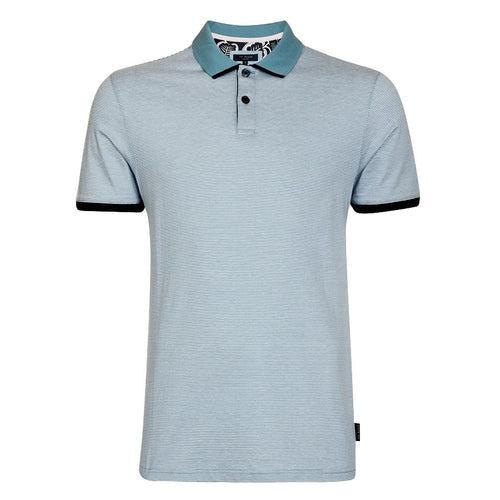 Ted Baker - CAFFINE Striped Polo Shirt in Light Blue - Nigel Clare