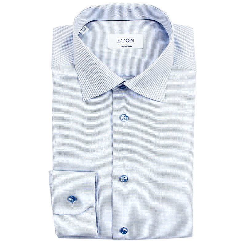 Eton - Contemporary Fit Twill Shirt in Blue - Nigel Clare