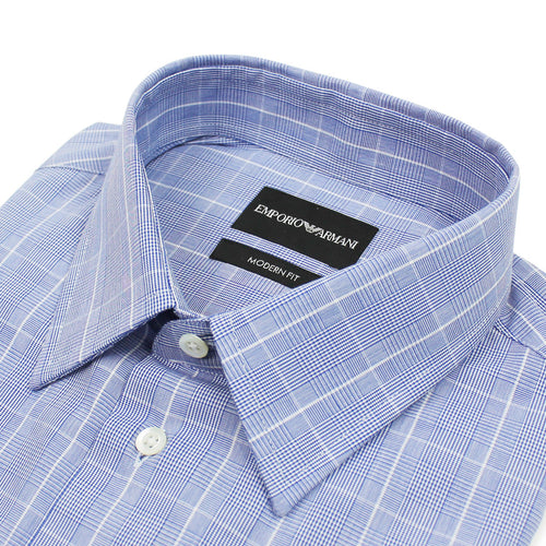 Emporio Armani - Modern Fit Check Shirt in Blue - Nigel Clare