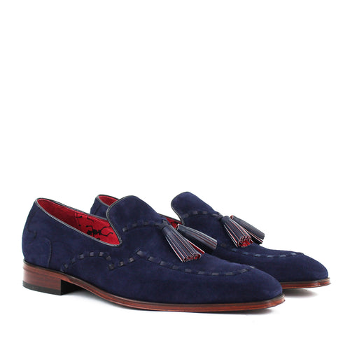 Jeffery West - Soprano Velour Tassel Loafers in Navy - Nigel Clare
