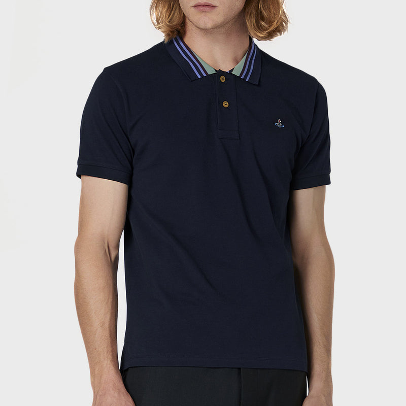 Vivienne Westwood - Striped Collar Polo in Navy - Nigel Clare