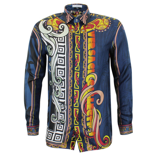 Versace Collection - Abstract Print Silk City Shirt in Navy - Nigel Clare