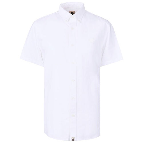 Pretty Green - Classic Fit SS Oxford Shirt in White - Nigel Clare