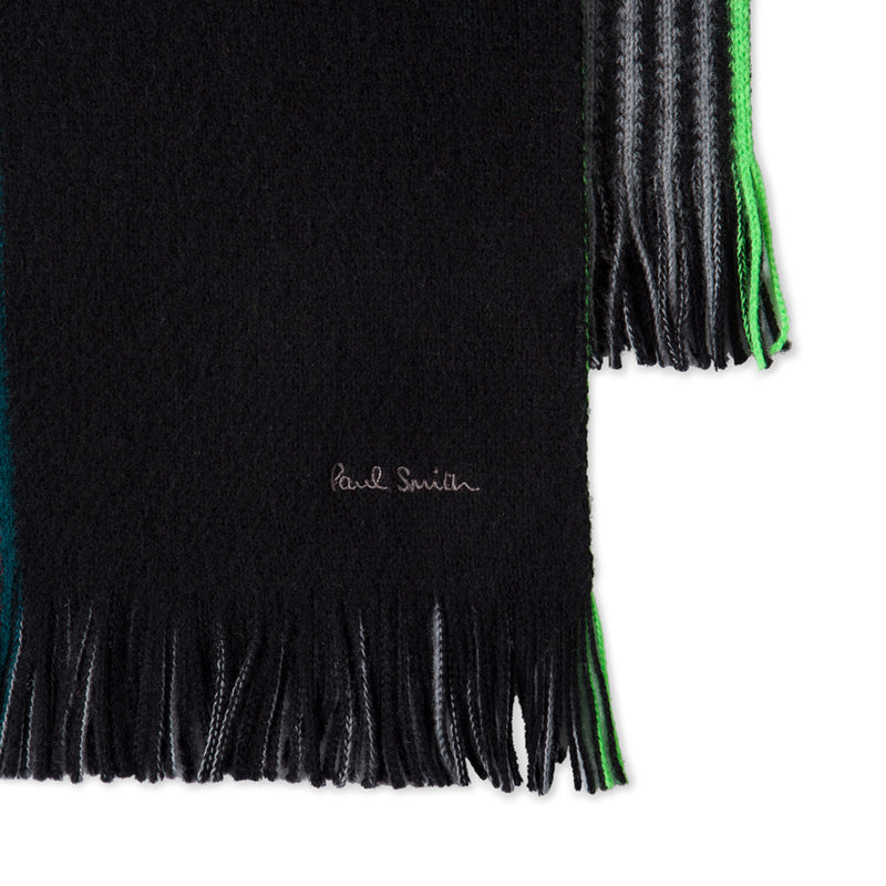 Paul Smith - Multi Colour Stripe Wool Scarf in Black - Nigel Clare