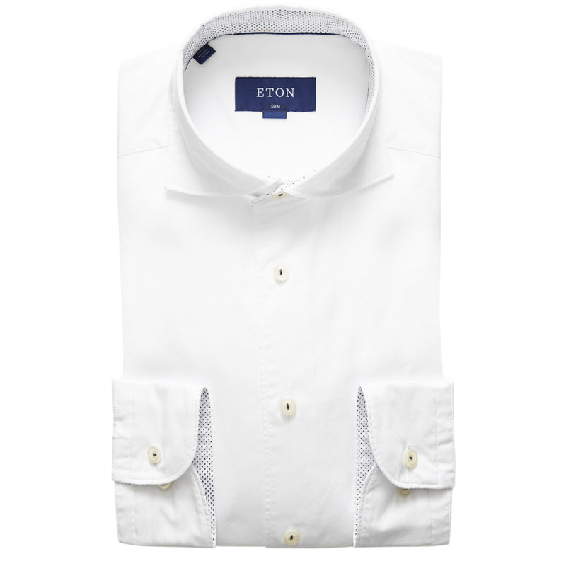Eton - Slim Fit Contrast Detail Shirt in White - Nigel Clare