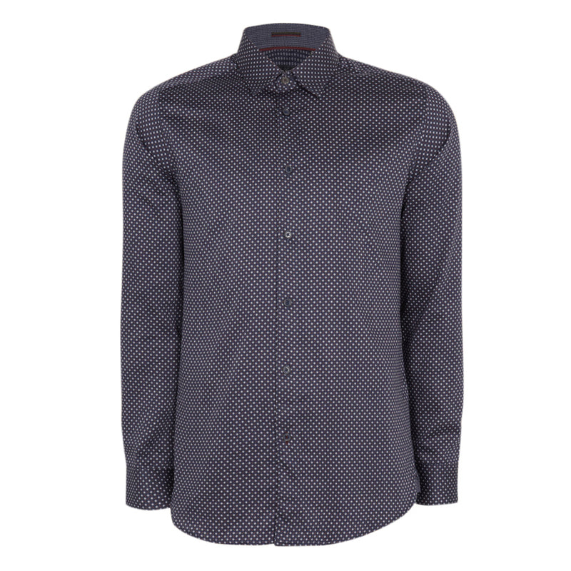 Ted Baker - MERCI Geo Print Long Sleeved Shirt in Navy - Nigel Clare