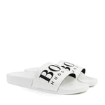 Hugo Boss - Solar Contrast Logo Sliders in White/Black - Nigel Clare