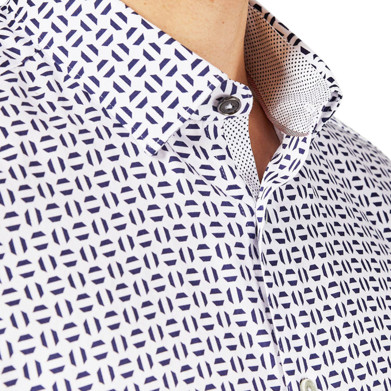 Ted Baker - STEEVE Geo Print Cotton SS Shirt in White - Nigel Clare