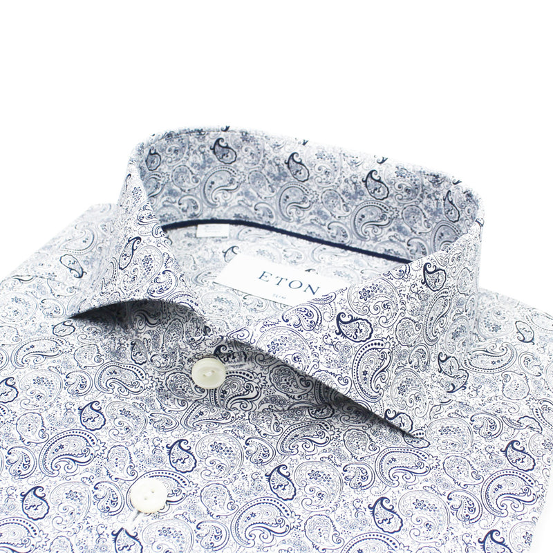 Eton - Slim Fit Paisley Print Shirt in White & Navy - Nigel Clare