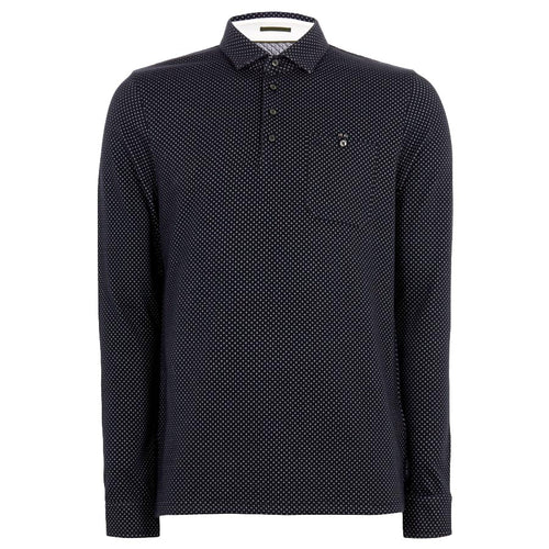 Ted Baker - OUTOF Long Sleeved Micro Print Polo Shirt in Navy - Nigel Clare