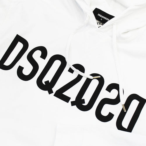 DSQUARED2 - DSQ2 Logo Hooded Sweatshirt in White - Nigel Clare