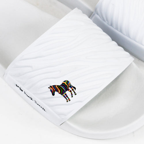Paul Smith - Summit Zebra Logo Sliders in White - Nigel Clare