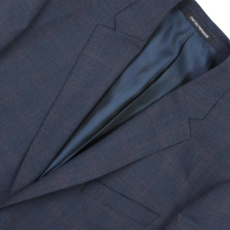Emporio Armani - M Line Slim Fit Navy Suit with Burgundy Check - Nigel Clare