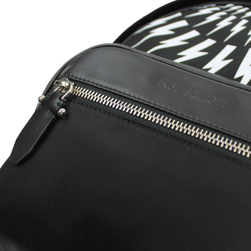 Neil Barrett - Lightning Bolt Nylon Backpack in Black & White - Nigel Clare