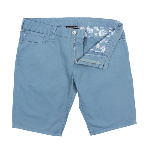 Emporio Armani - Cotton Twill Shorts in Soft Blue - Nigel Clare