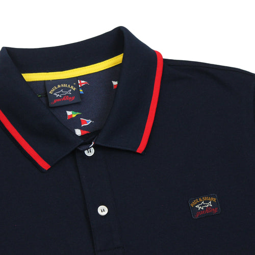 Paul & Shark - Tipped Collar Polo Shirt in Navy & Red - Nigel Clare
