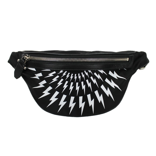 Neil Barrett - Lightning Bolt Nylon Bum Bag in Black & White - Nigel Clare