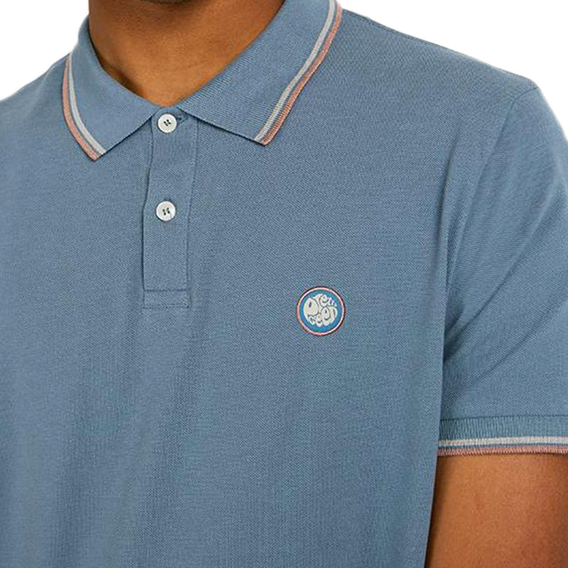 Pretty Green - Tipped Pique Polo Shirt in Blue - Nigel Clare