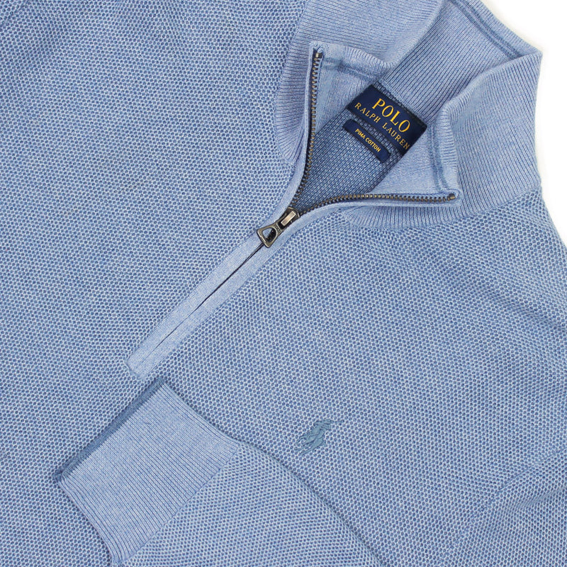 Polo Ralph Lauren - Textured Cotton Half Zip Jumper in Blue - Nigel Clare