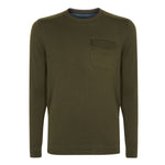 Ted Baker - Saysay Crew Neck Patch Pocket Jumper in Khaki - Nigel Clare