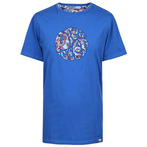 Pretty Green - Paisley Print Applique T-Shirt in Blue - Nigel Clare
