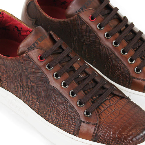 Jeffery West - Apolo Grain Leather Trainers in Brown - Nigel Clare