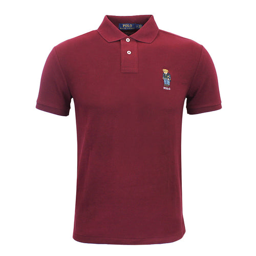 Polo Ralph Lauren - Custom Slim Fit Bear Polo Shirt in Burgundy - Nigel Clare