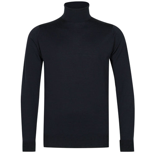 John Smedley - Richards Roll Neck Pullover in Midnight - Nigel Clare