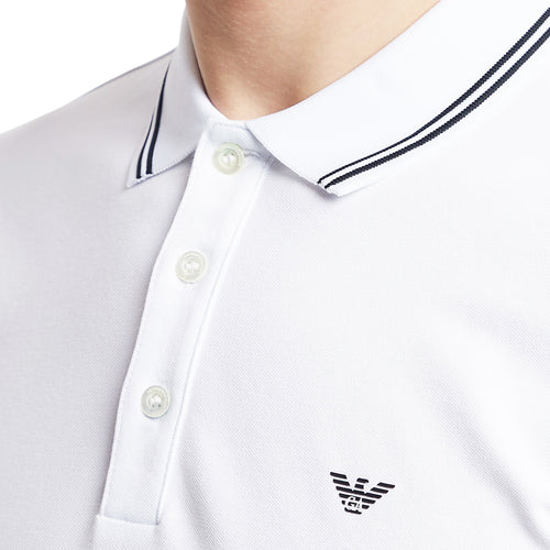 Emporio Armani - Tipped Stretch Polo Shirt in White/Black