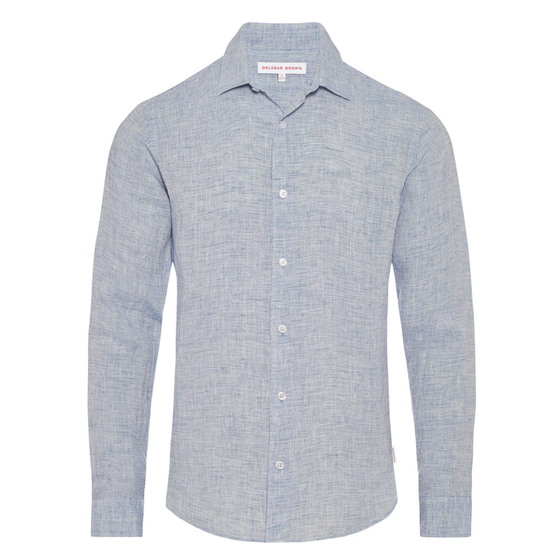 Orlebar Brown - Giles Linen Shirt in Navy & White - Nigel Clare