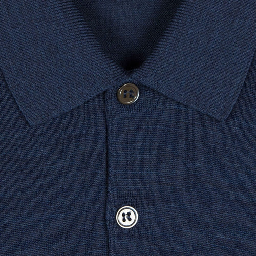 John Smedley - Cotswold Knitted Wool Polo Shirt in Indigo - Nigel Clare
