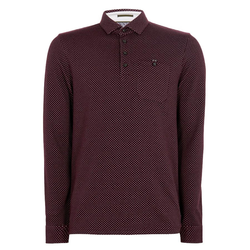 Ted Baker - OUTOF Long Sleeved Micro Print Polo Shirt in Dk Red - Nigel Clare
