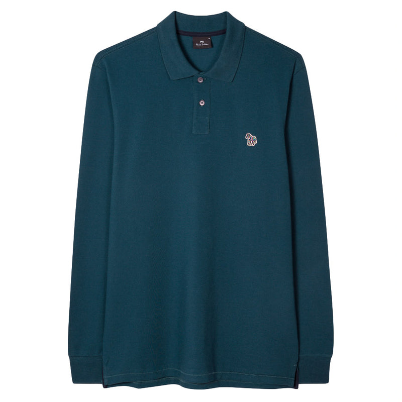 PS Paul Smith - Zebra Slim Fit Long Sleeve Polo in Teal