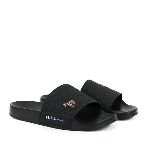Paul Smith - Summit Zebra Logo Sliders in Black - Nigel Clare