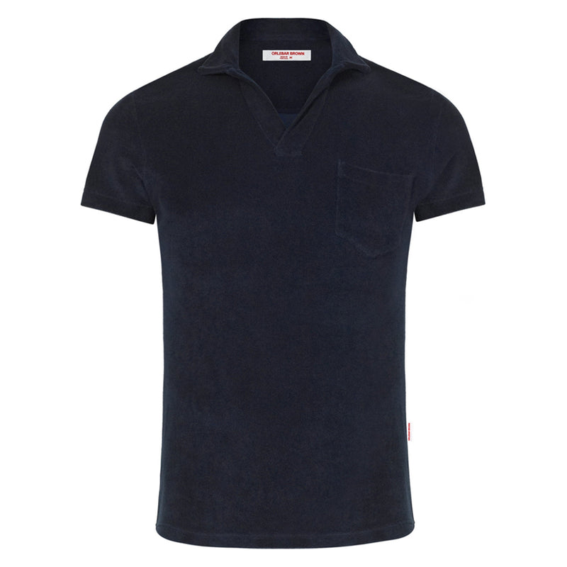 Orlebar Brown - Terry Towelling Resort Polo Shirt in Navy - Nigel Clare