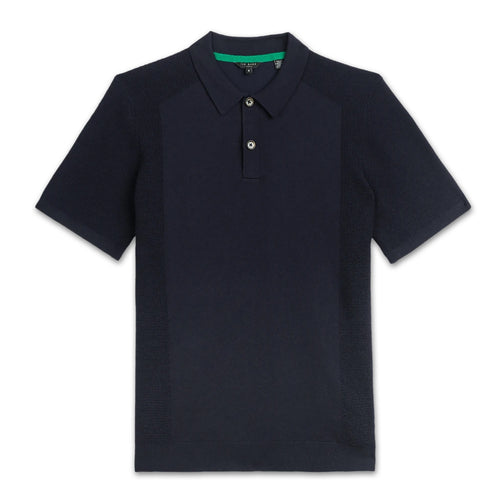 Ted Baker - BUMP Knitted Polo Shirt in Navy - Nigel Clare