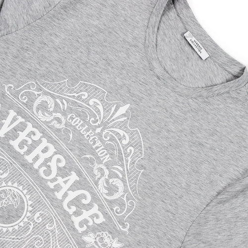 Versace Collection - Graphic Logo Print T-Shirt in Grey Melange - Nigel Clare