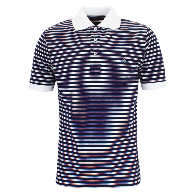 Vivienne Westwood - Striped Polo Shirt in Navy & White - Nigel Clare