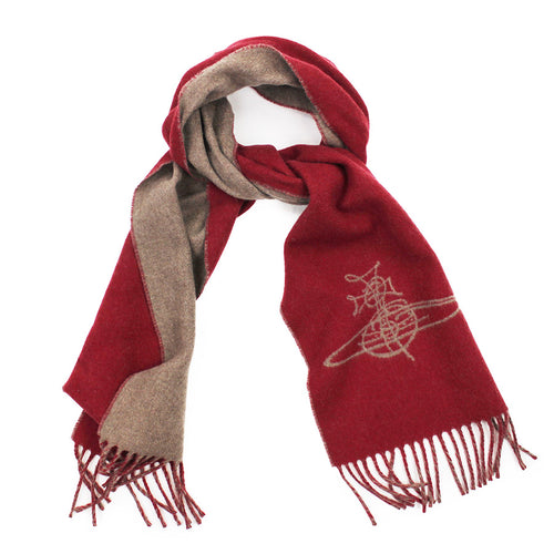 Vivienne Westwood - Double Face Orb Logo Scarf in Red - Nigel Clare